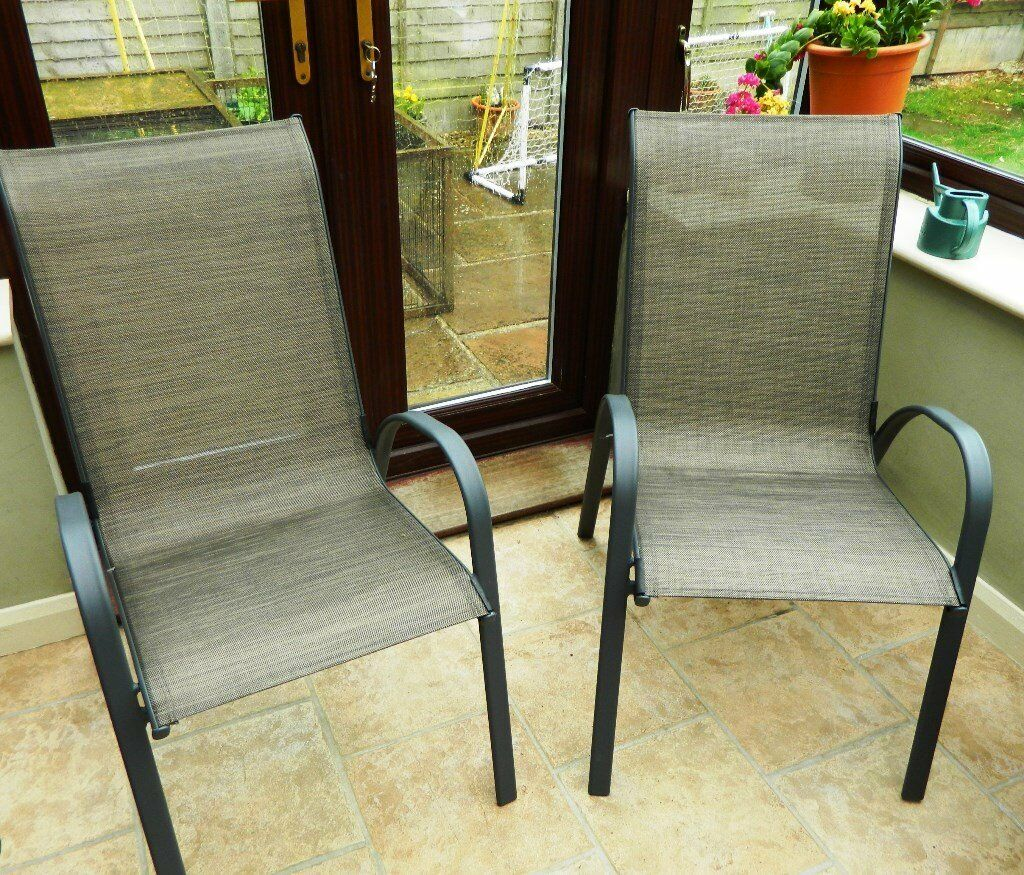 Garden Furniture Homebase x2 garden chairs: andorra bronze stacking (homebase) ex cond   in