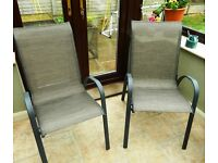 x2 Garden Chairs: Andorra Bronze Stacking (Homebase) Ex Cond