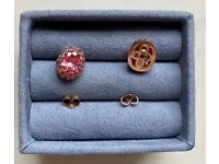 Earrings in pink swarovski cz set in 925 silver with rose gold plating