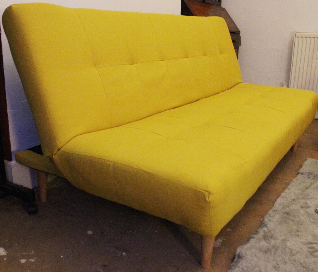 Modern Mustard Yellow 3 Seater Sofa Bed Scandinavian Style