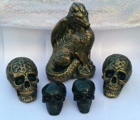 Mystical Dragon and Ancient Skulls - (Antique Gold effect)