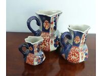 Three Ironstone China Jugs All are in excellent condition 3 different sizes Very attractive unique