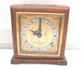 "Elliott Mahogany Case Winding Movement Timepiece Mantle Clock 6""H 5.5""W 2""D"