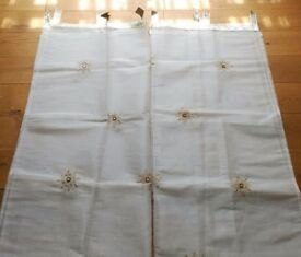 NEW Pair White Voil Tab Top Curtain panel Sari Style Gold Silver Motif Bedroom Furnishings Christmas