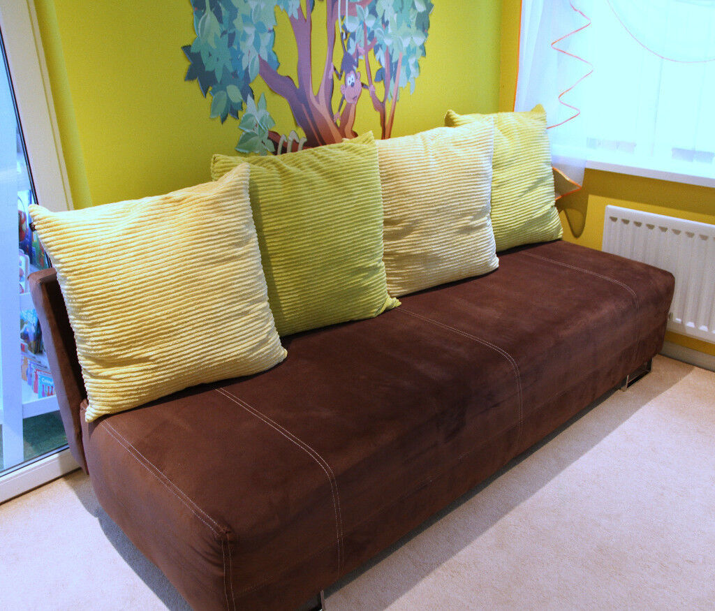 Immaculate Dark Brown Sofa Bed With Storage Green Yellow Or Cream Cushions 2 3