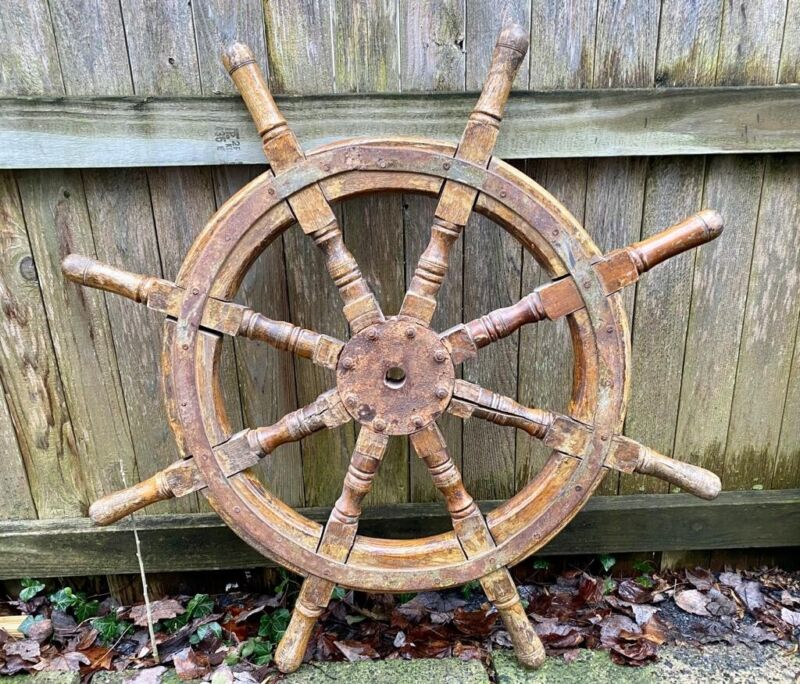 Antique 19th Century Wood Ships Steering Wheel Natutical Marine Beach Decor