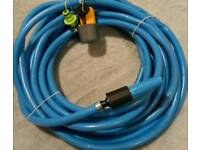 15m hosepipe. Garden hose with square tap adapter, spray nozzle and extender.