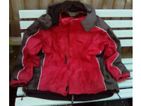 2 times wind/water proof size L fleece lined jackets and size 9 walking shoes, two pairs