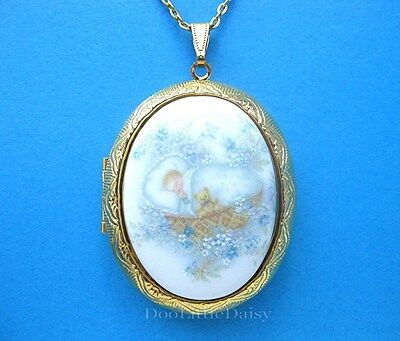Porcelain BABY BOY CAMEO Locket Goldtone Necklace Special Gift for Mother or Mom