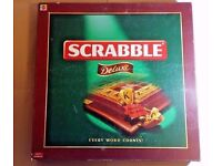 Scrabble Deluxe Wooden Rotating,Turntable Board Complete Game by MATTEL