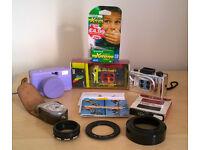 LOMO LOMOGRAPHY Action Sampler & Fisheye Cameras x3 plus 35mm film x2 & EXTRAS