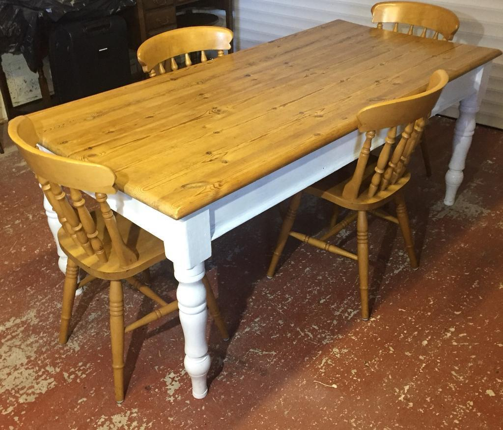 Vintage Solid Pine Dining Kitchen Table And 4 Heavy Elm
