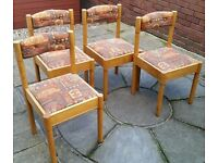 4 dining chairs. Wooden frames. Padded upholstery seat and backrest. In used but decent condition.