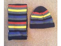 Boys Stripe Hat & Scarf 8 - 12 Years