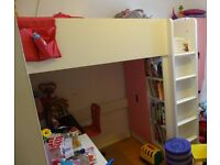 STUVA Loft bed w. desk and cupboard, white and pink, used