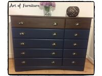 Pine Solid Chest Of 10 Drawers Hand Painted in Blue Mineral Paint