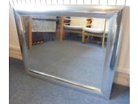 Large Bevel Edged Mirror with a Chrome Effect Frame