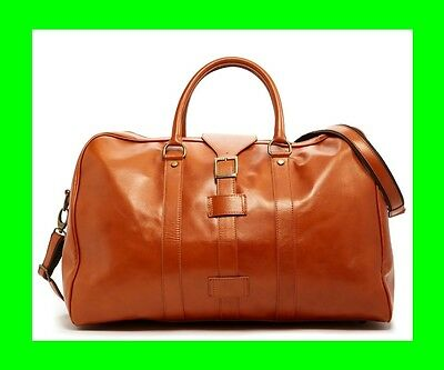 NEW PERSAMAN NEW YORK SANTINO SADDLE LEATHER COGNAC CAMEL DUFFLE BAG ITALY $1200