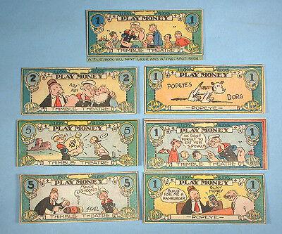 1932 Popeye 7 Lucky Bucks Play Money Thimble Theatre Comic Strip Segar Wimpy