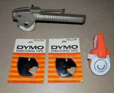 Vtg Dymo Tapewriter Lot M-5 Label Maker Metal W Embossing Tapes Radio Shack