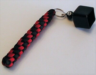 Billard Pool Cue Chalk Holder Made Of Paracord, Imperial Red & Black