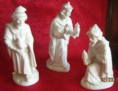 Vintage 3 WISE MEN Nativity figures ~ White Porcelain Dresden Germany