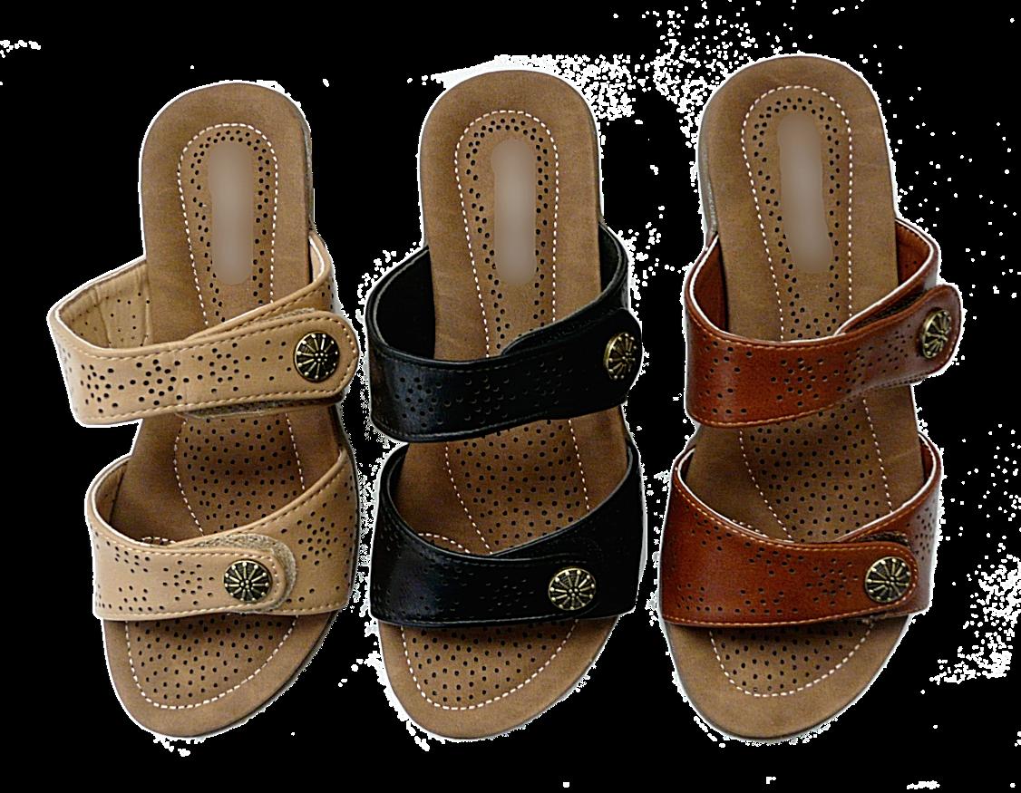 New Women Comfort Wedge Sandals Dual Adjustable Strap Slippe