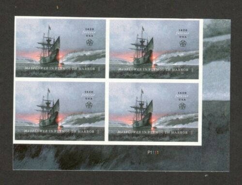 5524 Mayflower In Plymouth Harbor Plate Block Mint/nh FREE SHIPPING