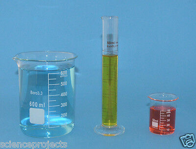 Beaker Set 600ml 50ml Cylinder 50ml Borosilicate Glass Griffin Lab New Beakers