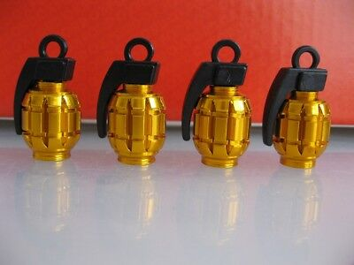 Gold Grenade Car Bike Motorcycle BMX Wheel Tyre Valve Metal Dust Caps.Set of 4