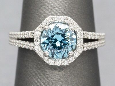 Handmade 2.78ctw Caribbean Blue Zircon Diamond Split Shank Halo Statement Ring
