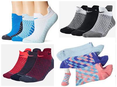 Nike Trocken Gepolstert No-Show Damen Trainieren Joggen Fitness Socken (3 Paar) (Gepolsterte Socken No-show)