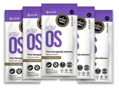 Pruvit Keto OS Chocolate Swirl 5 Packets CHARGED Caffeine Exp 1/2020 FLASH SALE