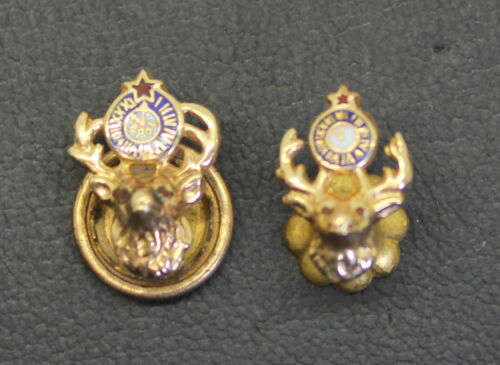 Two Small 10K Gold Antique Elks Lodge Enameled Pins