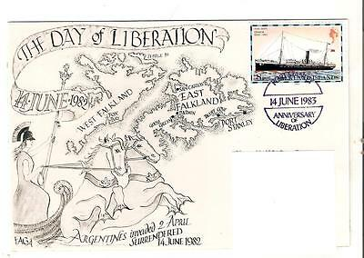 FAGA -DAY OF LIBERATION FALKLANDS WAR Falkands Handstamp 1983  Only 22  Made