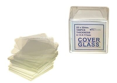 Microscope Slides Cover Glass Slips 22x22 mm, Pack of 100