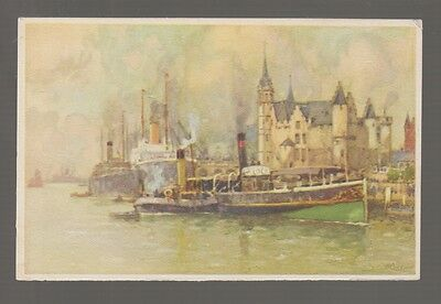 61163  Old Pc H  Cassiers Red Star Line The  Steen  Facing The River Scheldt