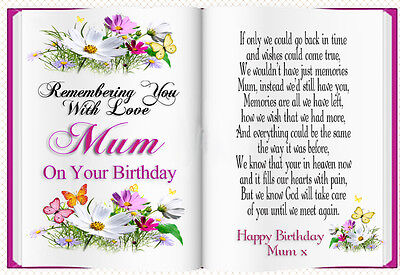 MUM BIRTHDAY BOOK SHAPED MEMORIAL BEREAVEMENT GRAVESIDE  CARD & FREE HOLDER 1