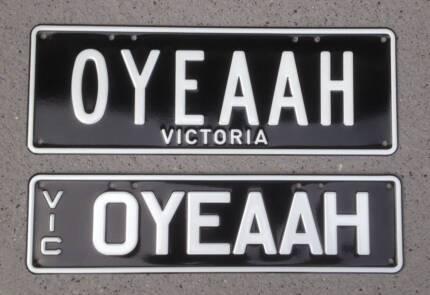 'OYEAAH' Personalised plates Vic