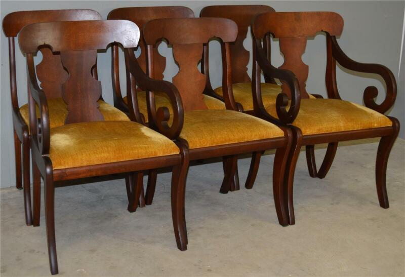 18802 Set of 6 Mahogany Empire Style Dining Chairs – Twin Arms