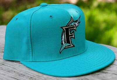 Vintage New Era Florida Marlins Fitted 5950 Teal Blue Baseball Hat Size 7 1 8