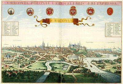 Cracovia Krakow Poloniae Polen von Johannes Janssonius Antik Reproduktion