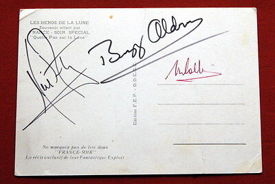 APOLLO 11 SIGNED ORIGINAL NEIL ARMSTRONG BUZZ ALDRIN COLLINS FRENCH POST CARD