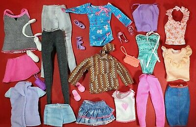 Barbie Mattel Fashionista & Doll Dresses Bags Shoes  Jeans Clothes Bundle