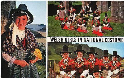 Fashion Postcard - Welsh Girls in National Costume     B746