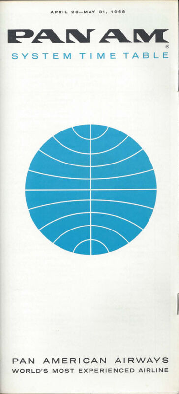Pan Am system timetable 4/28/68 [0098]