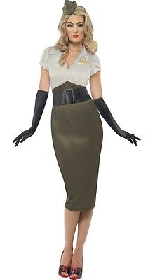 Ladies WW2 Army Military Pin Up 1940s Glamour Fancy Dress Costume Plus Size (Plus Size Military Costumes)