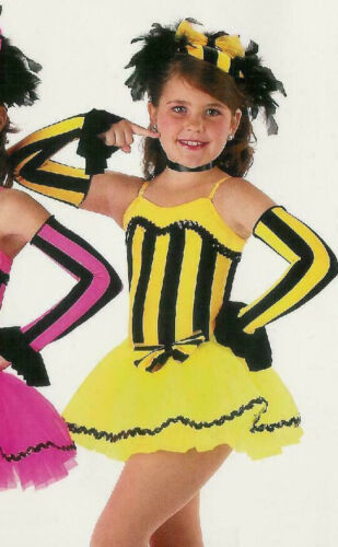 Group Lot 5 Child Small Victorian Jazz Tap Dance Dress Costume with Mitts YELLOW