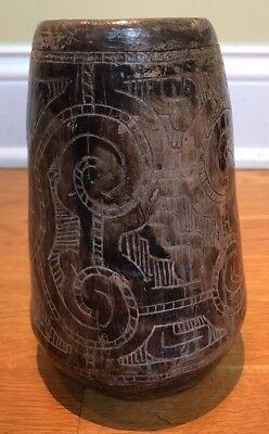 "Vintage Terracotta Pottery Vase Native Brazil Amazon Signed NEIA 7"""
