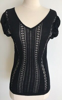 Gianfranco Ferre Black Woman Rayon Fine Knit Top Size Small